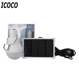 Wholesale ICOCO mah Lithium Battery Rechargeable Solar Powered LED Bulb Lamp Solar Panel for Fishing Camping Home Emergency Light