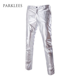 Chinese  Wholesale- Mens Casual Night Club Metallic Gold Flat Front Suit Pants Casual Slim Fit Straight Leg Trousers Hip Hop Stage Costumes Singers manufacturers