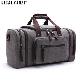 Wholesale- 2017 Men's Vintage Travel Bags Large Capacity Canvas Tote Portable Luggage Daily Handbag Bolsa Multifunction Drop Shipping P422