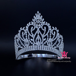 Beauty Pageant Award Oro contornato corona regolabile e diadema cristallo strass da sposa gioielli per capelli classico argento oro Mo023 in Offerta
