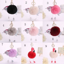 teddy bear plush key chain Canada - 2017 new Flamingo plush Key ring bag Pendant Horse Keychain cartoon unicorn Key chain 27 colors C2350
