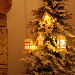 2017 New Christmas Tree Decorations Mini LED Wooden House Home Ornaments Xmas  Tree Pendants Party Supplies Fashion Gift For Kids
