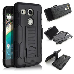 nexus 5x case armor Canada - Mulitary Armor Case for Google Nexus 5X 5 6 Hybrid Impact Shockproof Case for LG Nexus 4 5X Heavy Duty Case Belt Clip+Kickstand