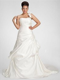 Gold Timeless NZ - New Romantic A-line Wedding Dress Classic Timeless Vintage Inspired Chapel Train One Shoulder Satin with Criss-Cross Draped Flower