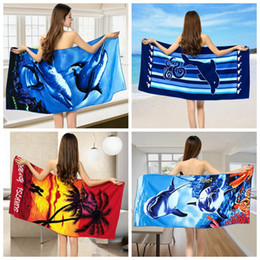 printing beach towels 70150cm dolphin whale flower ultrafine fiber bath towels wearable bathing towel 21 styles ooa2330 cheap dolphin towels - Cheap Beach Towels