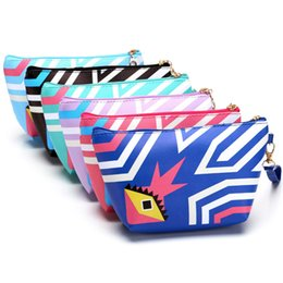 Kit Imprimé Gratuit Pas Cher-Vente en gros- 2017 Printing Cosmetic Bag Handmade Large Vintage Stripe Colorful Travel Kit Beautician Jewelry Organizer Livraison gratuite P455