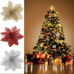 Discount xmas tree decorations flowers - Colourful Glitter Artificial Hollow Flowers Wedding Party Christmas ornament Xmas Tree Party Supplies Home Valentine