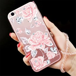 Types Iphone Cases Canada - 2017 newest fashion deft design Multi-type cell phone cases Creative drill Lanyard phone cases Silicone back cover phone cases