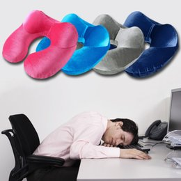 office sleeping pillow. wholesale 2017 hot sale inflatable ushape neck pillow for airplane office sleep portable travel pillows velvet fabric cushion accessories sleeping