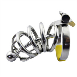 $enCountryForm.capitalKeyWord Australia - Stainless Steel Bondage Male Chastity Cage with Urethral Plug Sounds,Penis Cage Chastity Device Adult Sex Toy for Men CP008