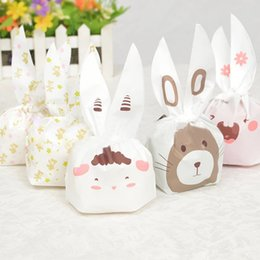 Biscuit snack Bags online shopping - 150pcs Cute Rabbit Ear Cookie Bags Self adhesive Plastic Bags for Biscuits Snack Baking Package Food Bag Home Party