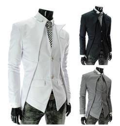 Patchwork designs for dresses online shopping - Wed Blazer Men Asymmetric Design Long Sleeve Turn Down Collar Single Breasted Fashion Slim Fit For Men Dress Blazer