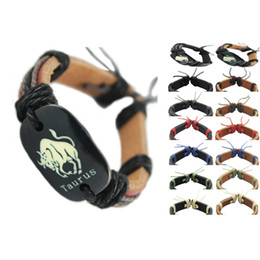 $enCountryForm.capitalKeyWord NZ - Taurus genuine leather bracelet adjustable black brown wholesale lots surfer chain cool cuff unisex handmade wristband zodiac bangle (DJ359)