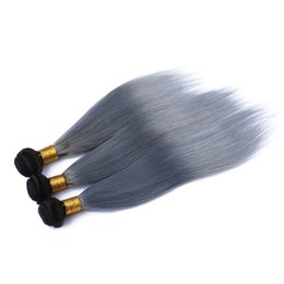 grey ombre hair bundle 2019 - Top Quality Malaysian 1B Grey Ombre Hair Weave Silk Straight Virgin Hair Extensions Two Tone Colored Human Hair Bundles