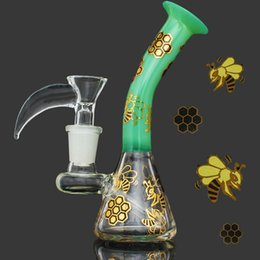 bee bong 2019 - 2017 Golden Bees Flowers Mini Glass Oil Rig Bong 4.3 Inch Water Pipe With 14mm Female Joint Beaker Recycler Thick Free S
