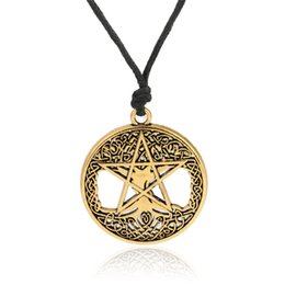 Tree Life Pendant Gold UK - Fashion silver&gold color Double sides Knot Pentacle Vintage tree of life Wicca Pentagram Yggdrasil Talisman Amulet Pendant necklace