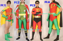 spandex robin costume UK - Amazing Robin Suit Outfit New 4 Style Lycra Spandex Super Hero Robin Suit Catsuit Costumes With Cape Unisex Fantasy Superhero Costumes P078