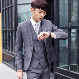 $enCountryForm.capitalKeyWord Australia - The latest man suits fashion groom wedding suits solid color lapel one button business formal occasion suits(jacket+pants+vest)