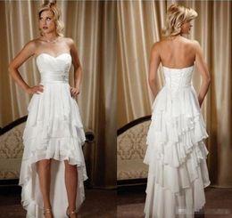 $enCountryForm.capitalKeyWord NZ - Summer 2017 White Chiffon Hi Lo Beach Wedding Dresses Sweetheart Front Short Back Long Simple Style Boho Country Bridal Gowns Cheap