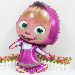 Masha Toys NZ - 77*47cm 50pcs lot Masha air globos party Foil Balloons Cartoon balls birthday Party decoration kids party Supplies classic toys