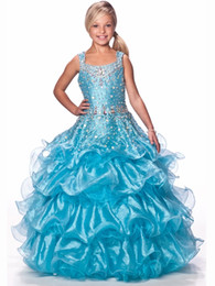 Robe Courte Petite Fille Pas Cher-Gorgeous Flower Gageant Robes de fille Sexy Beading Organza Ruffled Spaghetti-Straps Crystal Ruched Little Girl Robes de fille à fleurs 2017