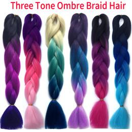 xpression braiding hair wholesale 2019 - Kanekalon Xpression Ombre Braiding hair synthetic Crochet braids twist 24inch 100g Ombre two tones Jumbo braid hair exte