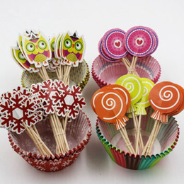 $enCountryForm.capitalKeyWord NZ - Christmas Cake Picks Cupcake Liner Decoration Muffin Decorating Cupcake Wrappers and Toppers for Christmas Party Supplies