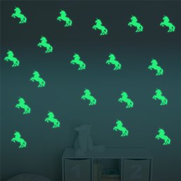 $enCountryForm.capitalKeyWord Canada - 10PCS set Colorful Luminous Home Glow In The Dark Unicorn animal shape Wall Stickers Decal for Kids Baby Rooms Hallowmas Fluorescent Sticker