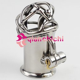 Discount piercing chastity device - Wholesale- New Penis Piercing Stainless Steel PA Lock Chastity Device Sex Toys For Men Penis qianchichi