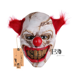 $enCountryForm.capitalKeyWord UK - Scary Clown Latex Mask Big Mouth Red Hair Nose Cosplay Full Face Horror Masquerade Adult Ghost Party Mask for Halloween Props