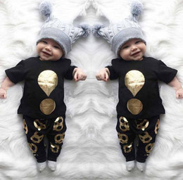 t shirt stamped NZ - 2017 Summer Ins Infant Baby Boys Set Hot Stamping T-shirt Kids Cotton Tops Tshirt + Pants 2pcs Clothing Suit Children Outfits
