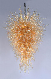 Prices Energy Saving Bulbs Australia - Dale Chihuly Style Gold Glass Crystal Chandelier Home Hotel Decor Wholesale Cheap Price Hand Blown Art Glass Large Chandelier with LED Bulbs