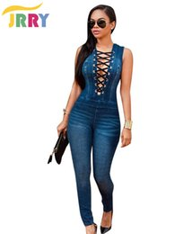Mameluco Largo Denim Baratos-Venta al por mayor- JRRY Casual V profundo cuello de las mujeres Denim Jumpsuit sin mangas Top largo pantalones flacos damas mameluco general