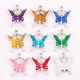 EnamEl buttErfly jEwElry online shopping - 180pcs x15 mm Colors Antique Silver Enamel Butterfly Spacer Charm Beads Pendants Alloy Handmade Jewelry DIY L1561