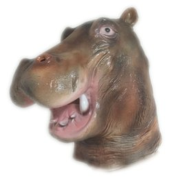 $enCountryForm.capitalKeyWord UK - Hippopotamus Latex Mask Full Head Halloween Animal Rubber Masks Masquerade Private Party Festival Costume Props Children Gifts