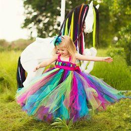 Show Wedding Gown Dresses Canada - 2017 show rainbow tutu tulle baby bridesmaid flower girl wedding dress fluffy ball gown birthday evening prom cloth party dress