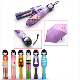 $enCountryForm.capitalKeyWord Canada - Novelty Fashion Cartoon Japanese Doll Three-Folding UV Anti Windproof Mini Umbrella
