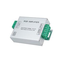 Светодиодные вход усилителя RGB контроллер постоянного тока 5В 12В 24В 24А репитер сигнала 120Вт 288w 576W для 3528 /5050 RGB светодиодная лента алюминиевая коробка