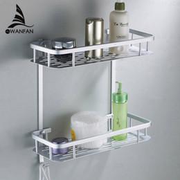 hot sale cheap two layer bathroom rack space aluminum towel washing shower basket bar shelf bathroom accessories