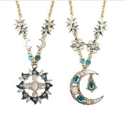 $enCountryForm.capitalKeyWord Australia - 30pcs artificial crystal opal sun pendant necklaces for women,Fashion vintage gold color long sweater necklace chain jewelry F261