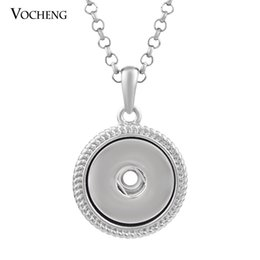Interchangeable snap jewelry wholesalers online shopping - 10pcs Vocheng Snap Button Charms Round Pendant Necklace mm Interchangeable Jewelry With Stainless Steel Chain Nn