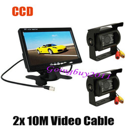 "bus rear view camera NZ - 2x CCD IR Car Reverse Camera with 10M cable Waterproof + 7"" LCD Monitor Car Rear View Kit for Bus Long Truck Free Shipping"