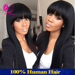 More Bangs NZ - Lace Front Human Hair Wigs Peruvian Virgin Hair Front Lace Wigs Straight Full Lace Human Hair Wigs With Full Bangs For Black Women