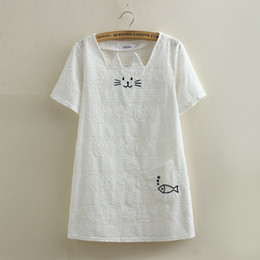 Tee Carré Pas Cher-Vente en gros - 2017 New Summer Mori Girl Femmes Cute Tops Lovely Cat Broderie Coton T-shirt Short Sleeve Square Collar Slim T-Shirts S M L