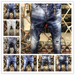 Broderie De Style Pas Cher-2017 New Style Brand DSQ Denim Jean Jean Broderie Tiger DSQ2 Pantalons Trous D2 Jeans Zipper Homme Pantalons Pantalons