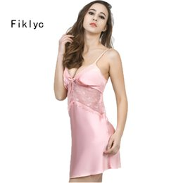 Wholesale- luxury womens summer nightwear silk nightgowns fashion 2016 new  arrival lace hollow out sexy suspender Mini pyjamas best selling 6a040da7e