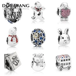 Wholesale green snake movie online – design DORAPANG NEW Summer Authentic Sterling Silver Beads RED GREEN Blue CZ Fits Snake Chain Bracelets Necklace Charms For Women Gift