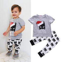 $enCountryForm.capitalKeyWord Canada - Baby Clothes Toddler Boys Clothing Set Grey Tracksuit Short Sleeve Shirt Tops Legging Pants 2PCS Outfits Sports Boy Suit