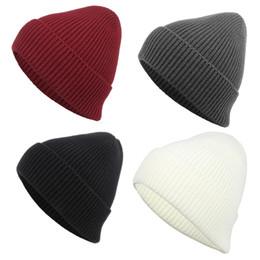 Cool Winter Beanies For Men NZ - Quality Hip Hop Rib Beanies Hats For Adults Mens Womens Acrylic Knitted Winter Head Warmer Woman Man Sport Snow Cap Cool Plain Hair Bonnet