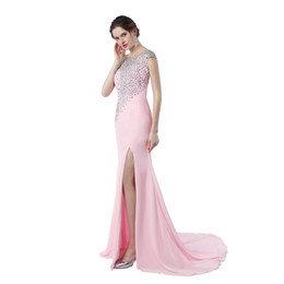 Chinese  Rhinestone Evening Gown Vestido De Festa Longo Sale 2019 Sexy High Split Mermaid Backless Prom Dresses 2019 manufacturers